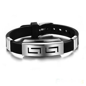 Hot-Men-039-s-Black-Punk-Rubber-Stainless-Steel-Wristband-Clasp-Cuff-Bangle-Bracelet
