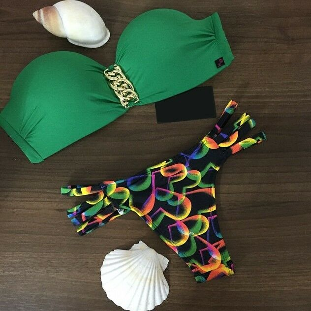 Swimwear Bikini Green Swimsuits Bathing Suit Push Up Bikini Brazilian Vintage