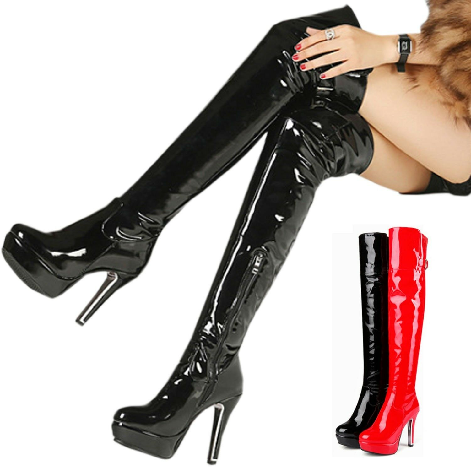 Mens Thigh Length Boots Crossdresser Performance Patent Gogo Buckle shoes 0-12