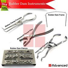 Dental Rubber Dam Starter Kit Surgical Ainsworth Punch Forceps Ivory Clamp Frame