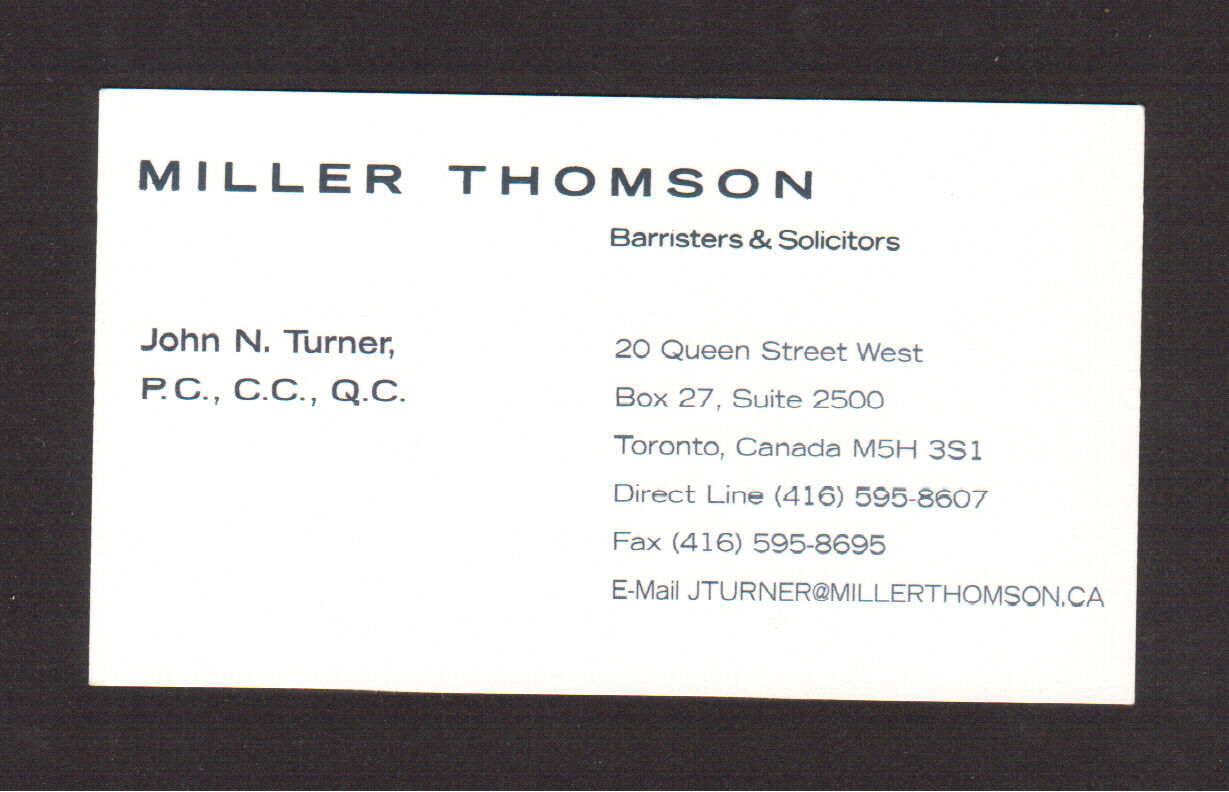 John turner prime minister of canada law office original business john turner prime minister of canada law office original business card reheart Choice Image
