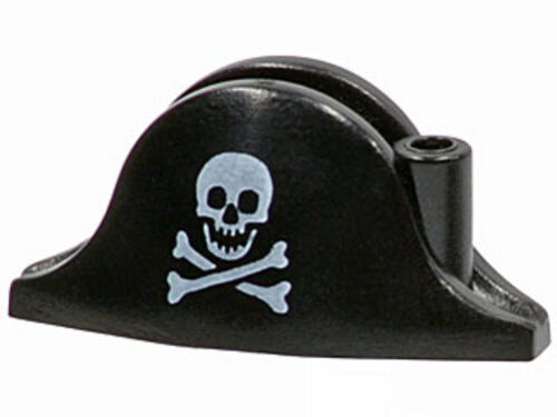 LEGO - Minifig, Headgear Hat, Pirate Bicorne w/ Skull & Crossbones - Black