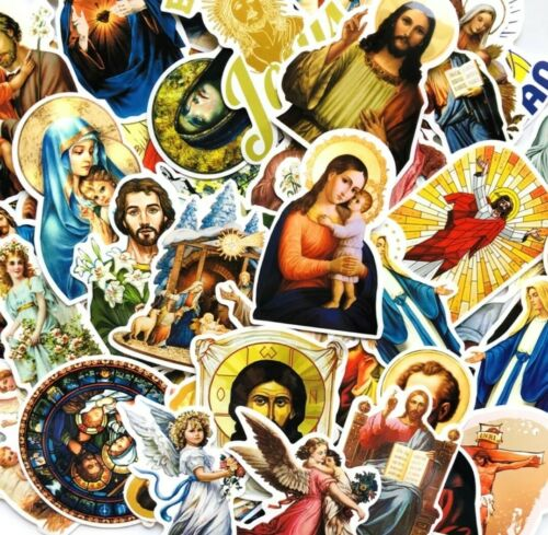 32 Pegatinas religiosas-Jesús Pegatina De Vinilo-Bebé//Santos//Virgen María//Los Ángeles-Grande