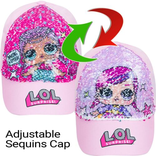 Girls LOL Surprise Baseball Reversible Pink Sequin Cap Hat Sun Summer