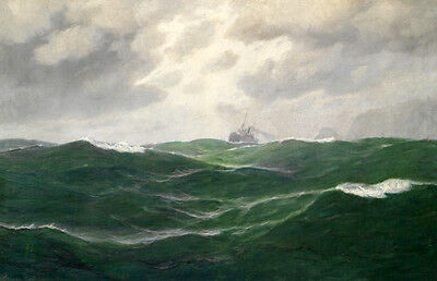 Stunning Oil painting seascape green ocean waves with sailing ship canvas