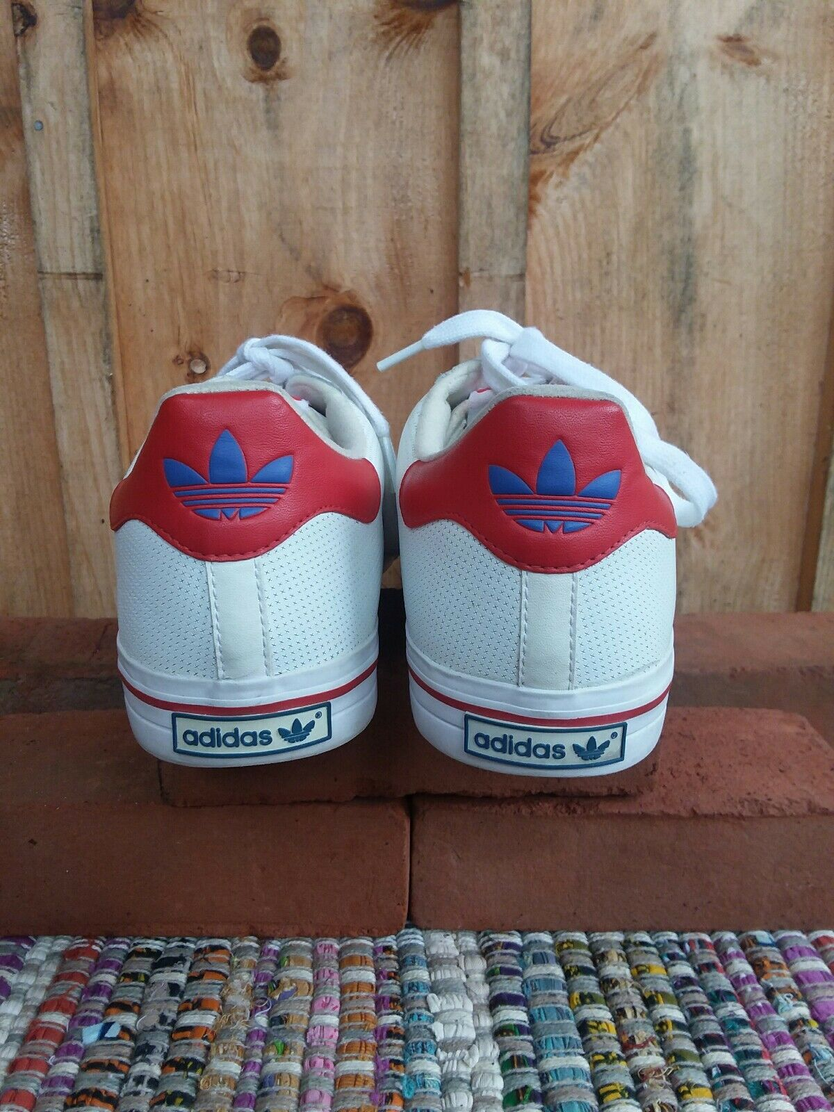 Adidas  The Brand With The 3 Stripes  Red, White And bluee  Sz 12 Men's