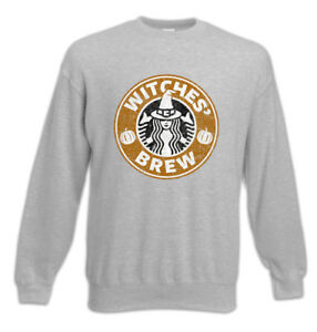 Kaffee Coffeine Witches Pullover 'Brew Halloween Sweatshirt Fun Witch TqTwIxXPO