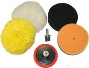 """3"""" Buffing Pad Kit, 4 Buff Polishing Pads, Polisher Backing Plate, Drill Adapter"""