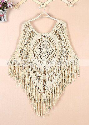 Handmade Women's Crochet Poncho Dress Sweater Floral Embroidery Net Knitting