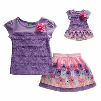 Girl 5-14 And 18 Doll Matching Lace Top Floral Skirt Clothes Fit American Girl