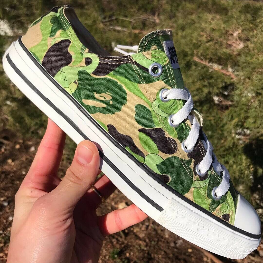 "100% Authentic A Bathing Ape X Kaws ""Bendy"" Green Camo Low Apesta 9 Supreme Off"