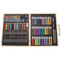 Drawing Art Set Sketch Painting Color Artist Kit Pencil Pastel Wood Case 131 Pcs