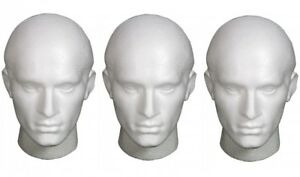 MALE POLYSTYRENE MANNEQUIN DISPLAY HEADS IDEAL FOR WIGS, HATS, ARTISTS, CRAFTS