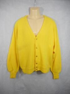 Vtg EDWARDS XL Yellow Cardigan Sweater 52