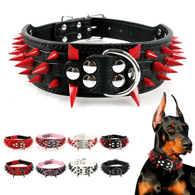 Spiked Studded Leather Pet Dog Collars For M//L Breed Pitbull Boxer Mastiff S-XL