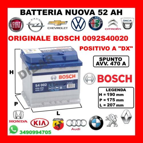 BATTERIA 52AH BOSCH NUOVA PEUGEOT 306-307-308-309-405-406-407-605 DA ANNO 1983