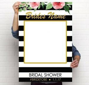 A1 Customised Bridal Shower Photo Prop Selfie Frame Uncut 5mm