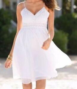 53afbb0832 Women's BOSTON PROPER White Beach Wedding Dress Crochet Flowy Adj ...