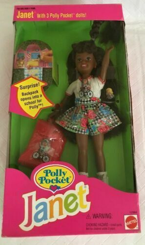Polly Pockets For Sale: Janet With 3 Polly Pocket Dolls School Backpack 1994