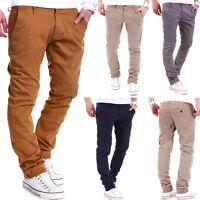 BEHYPE Herren Chinohose Slim Stil Chino Hose Jeans Schwarz/Braun/Navy/Beige NEU