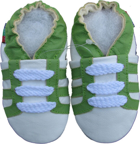 shoeszoo soft sole leather baby shoes sports green white 0-6m S
