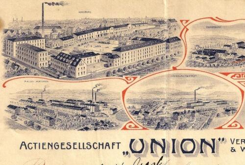 AG Union Ver. Zündholz & Wichse Fabriken Augsburg Rechnung 1908 Kempten Aalen