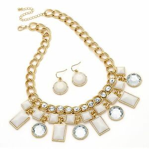 Gold and Ivory Crystal Stone Necklace Earrings Set Costume Jewellery