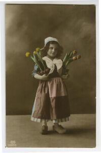 c 1912 Child Children LITTLE DUTCH GIRL w/  Tulip Flowers photo postcard