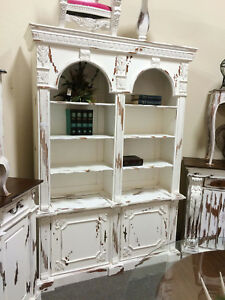 Distressed White Carved Mahogany