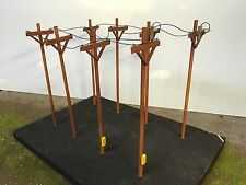 Scratch Built O Scale Telephone Poles (Set Of 8) w/ Realistic Wire! Lionel MTH