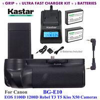 Bg-e10 Battery Grip, Lp-e10 Battery, Charger For Canon Eos Rebel T3 T5 Kiss X50