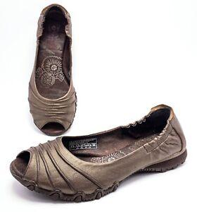 SKECHERS ORIGINALS BIKERS Womens 7.5 Bronze Peep Toe Slip On Ballet Flats Shoes