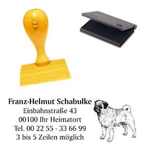 Adressenstempe<wbr/>l « MOPS » mit Kissen - Hundeschule Tierheim Hund Pug