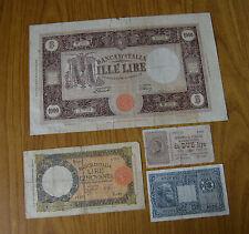 LOTTO 4 BANCONOTE LIRE 50 LUPA 1938 LIRE 1000 GRANDE M 1947 LIRE 10 GIOVE IMPERO