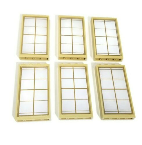 Lego 6 New 1 x 4 x 6 Trans-Clear Glass Window with Gold Lattice Panes Tan Frames