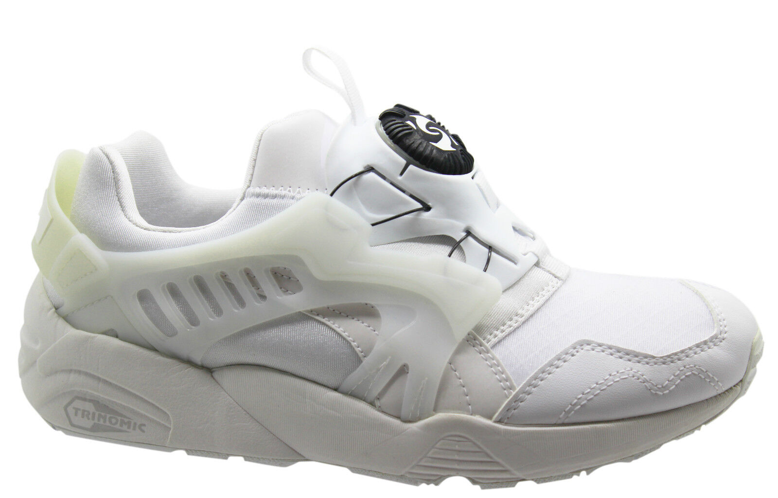 Puma Trinomic Disc Blaze White Black Modern Mens Trainers Slip On 358324 01 D124