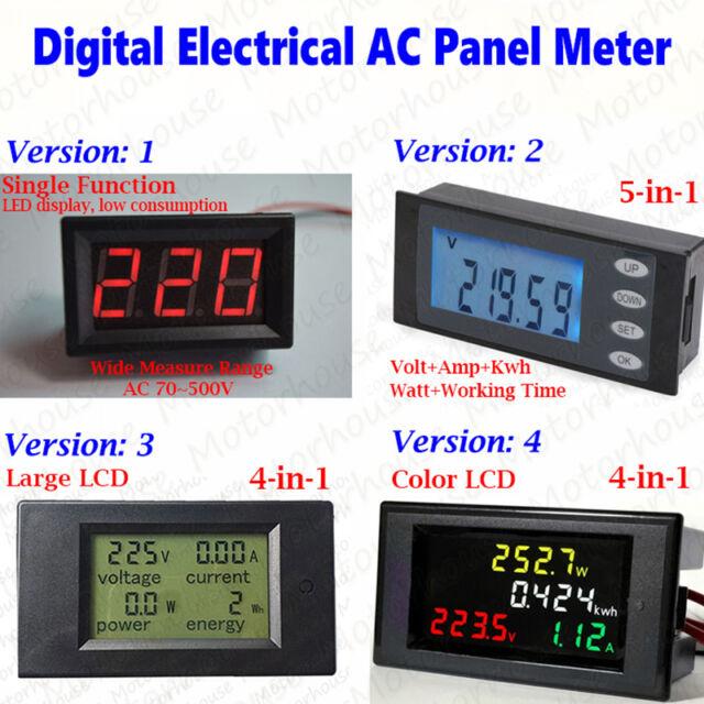 AC 110V 220V Digital LCD AC Voltmeter LED Voltmeter Volt Amp Watt Combo Meter