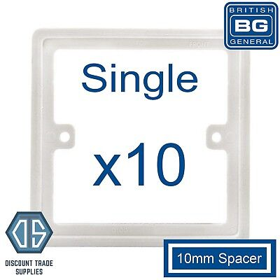 10 x blanc 1 gang square 10mm socket switch back box espaceur plaque cadre