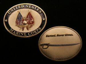 EARNED-NEVER-GIVEN-CHALLENGE-COIN-SABER-SWORD-US-MARINES-GRADUATION-GIFT-MR