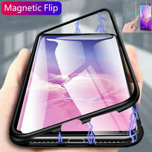 For-Samsung-Galaxy-S10-Plus-Magnetic-Adsorption-Metal-Case-Tempered-Glass-Cover