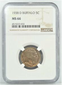 1938 D//D 5C Buffalo Nickel NGC MS66 in display box