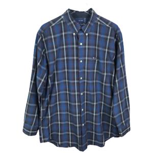 Chaps-Mens-Button-Down-Shirt-Size-L-Blue-Plaid-Easy-Care-Long-Sleeve-Cotton