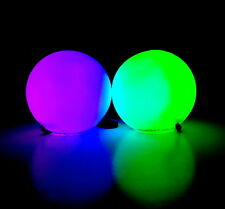 Set of 2 LED Poi Balls 9Mode Light Tyres Rave Toy Hula Hoop Double Loop Handles