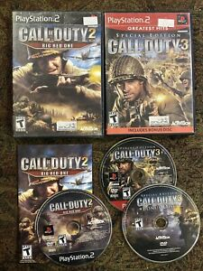 PlayStation-2-PS2-BUNDLE-LOT-CALL-OF-DUTY-3-SPECIAL-EDITION-COD-2-Big-Red-One