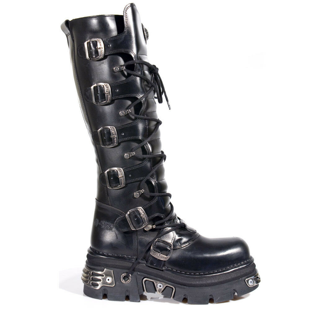 Grandes zapatos con descuento New Rock M.272-S1 METALLIC BLACK GOTH KNEE HIGH ZIP LEATHER BUCKLE BOOTS