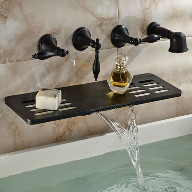 Attirant Oil Rubbed Bronze Brass Bathtub Faucet Wall Mount Mixer Tap Waterfall Shelf  Tap