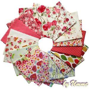 Ivory-Coral-Floral-Fabrics-100-Cotton-Material-Fat-Quarter-bundle-metre