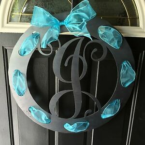 10115-20-034-Metal-Monogram-Ribbon-Wreath-w-Initial-door-hanger-plasma-cut-steel