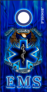 EMS Medical Service LAMINATED Cornhole Wrap Bag Toss Skin Decal