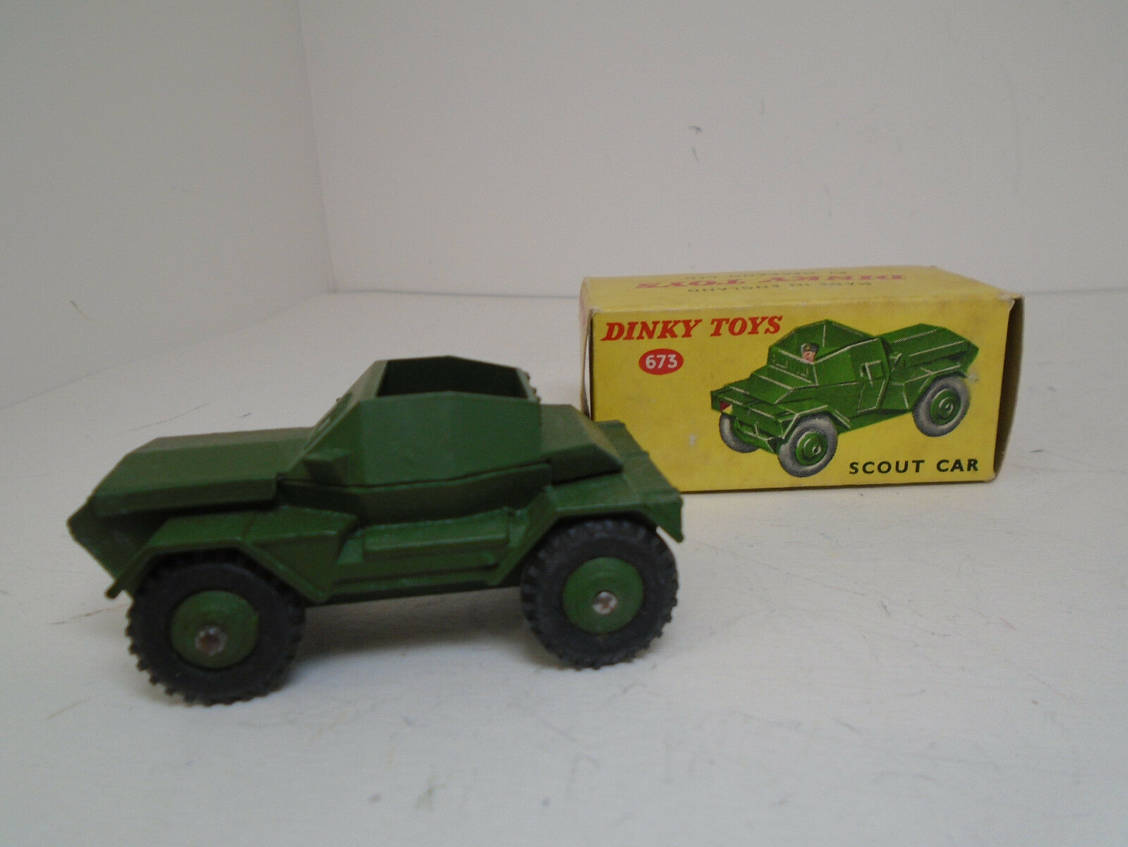 Vintage Dinky Toys  673-G ARMY SCOUT CAR Meccano Ltd. NEAR MINT IN ORIGINAL BOX